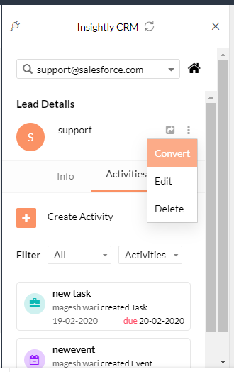 convert lead into contact from zoho mail