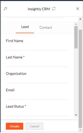 create new lead in insightly from zoho mail