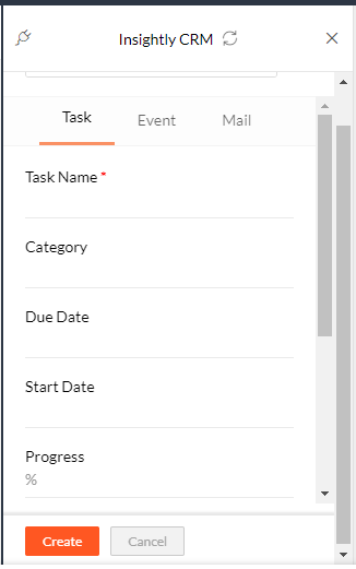 create task in insightly from zoho mail